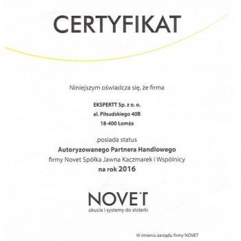 Certyfikat Novet