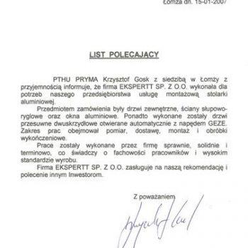 Certyfikat Pryma