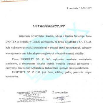 Certyfikat Dantex